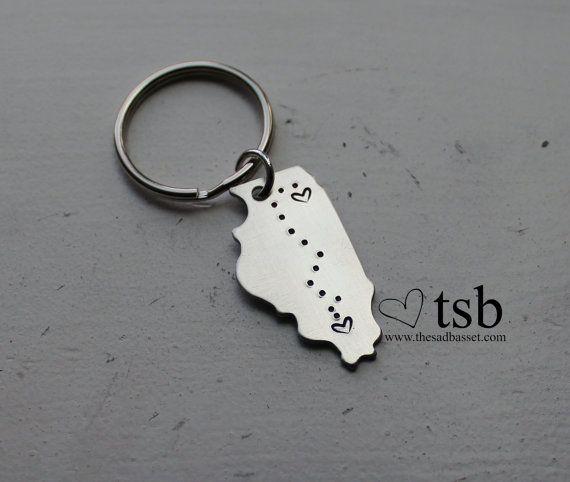 Long Distance Love Handstamped US State Keychain  by TheSadBasset, $12.00