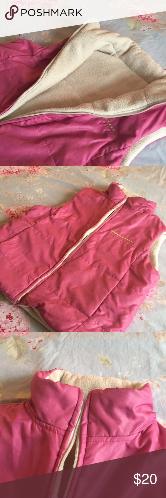 Pink Puffer Vest Girls As pretty as it gets !!  Good Condition.  Warm puffer Jacket with hidden hoodie in collar pockets . Jackets & Coats Puffers