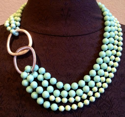 A pair of earring & necklace and you can create a great look. Seabreeze necklace connected with Round About earrings. Jewelry by Premier Designs.