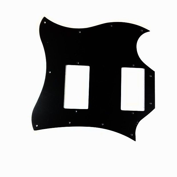 Pickguard Black 11 HOLES fits Gibson + Epiphone SG style electric guitar.This listing is for a replacement pickguard Black 11 hole to fit SG electric guitars. Pickguard Black Pearl 11 HOLES fits Gibson + Epiphone SG style electric guitar.Thanks for shopping Manor Music Store.