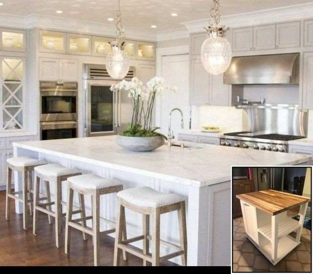 Kitchen Island Top Diy And For Kitchen Island Bar Wall Ideas White Kitchen Decor White Kitchen Design Kitchen Island Design