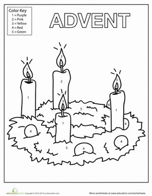 Christmas Kindergarten Worksheets: Advent Candles Coloring Page