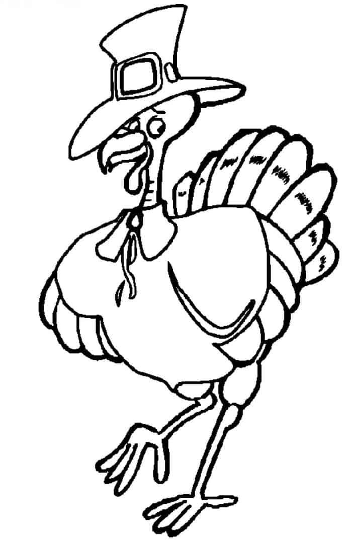 Turkey With Pilgrim Hat Coloring Pages From Printable Turkey