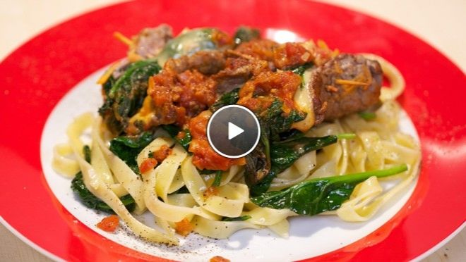 Biefstukrolletjes met tagliatelle - recept | 24Kitchen
