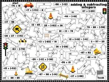 Adding and Subtracting Integers Maze by Algebra Accents   Teachers Pay Teachers