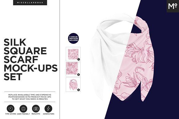 Silk Square Scarf Mock-ups Set by Mocca2Go/mesmeriseme on @creativemarket