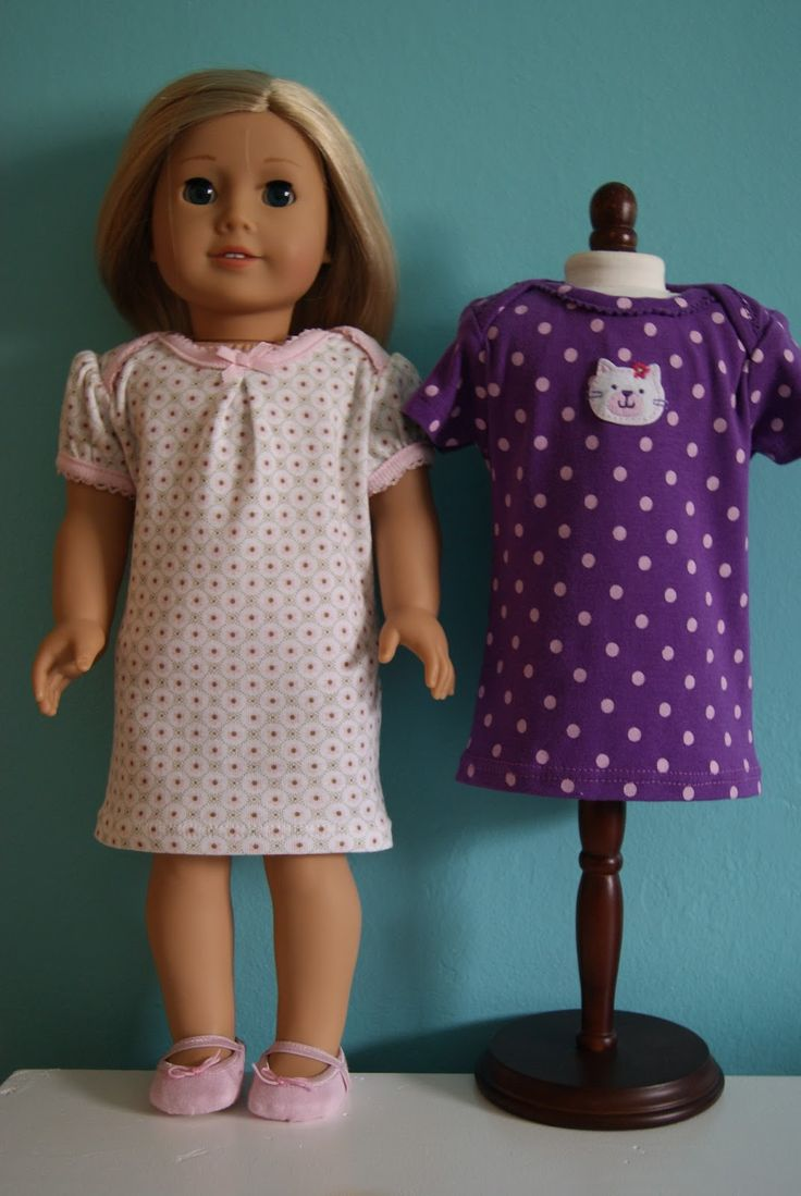 newborn onesies to 18-inch doll nightgowns by nest full of eggsSewing, Doll Clothes, Nests Full, Newborns Onesies, Girls Dolls, Dolls Clothing, Dolls Nightgowns, 18 Inch Dolls, American Girls