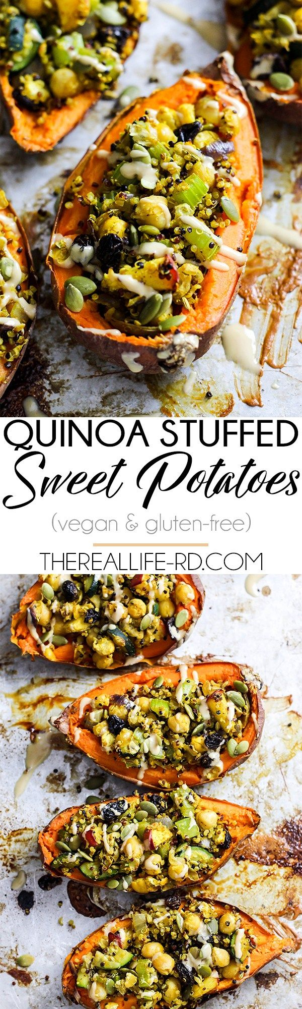 Quinoa stuffed sweet potatoes - a satisfying dinner full of tasty ingredients like chickpeas, raisins, and sweet potato! | The Real Life RD