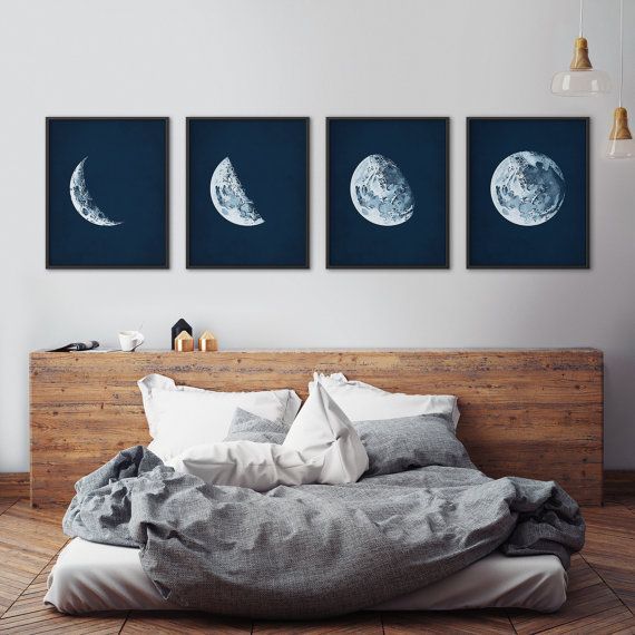 A gorgeous print set of 4 moon phases, adapted from a 100-year-old astronomy textbook. The vintage midnight background is antiqued with a delicate patina that looks great in any decor. Available framed or unframed.  The light background is antiqued with a delicate patina that preserves vintage charm in any decor.  HAPPY SAVINGS ❤ This set saves you 15% off the individual price for each print.  OPTIONS Buy just a single print for $12+. ❤ Top left in photo: http://etsy.me/2jRfqs...