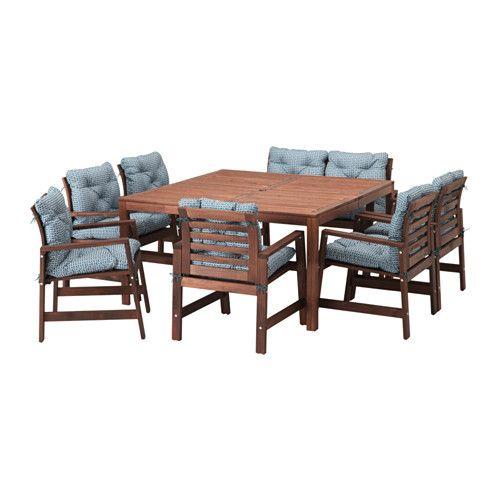 ÄPPLARÖ Bord+6 karmstolar+bänk, utomhus, brunlaserad, Ytterön blå - Äpplarö brunlaserad/Ytterön blå - IKEA