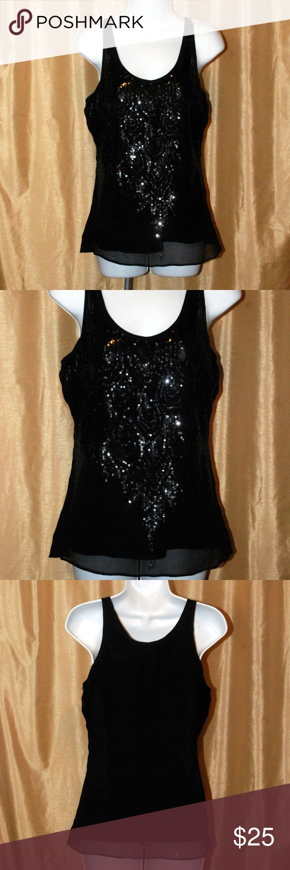 MM Couture Miss Me Black sequin tank top small MM Couture Miss Me Black sequin tank top small beautiful sequin top sheer overlay great for a night out on the town!!! Smoke free home MM Couture Tops Tank Tops