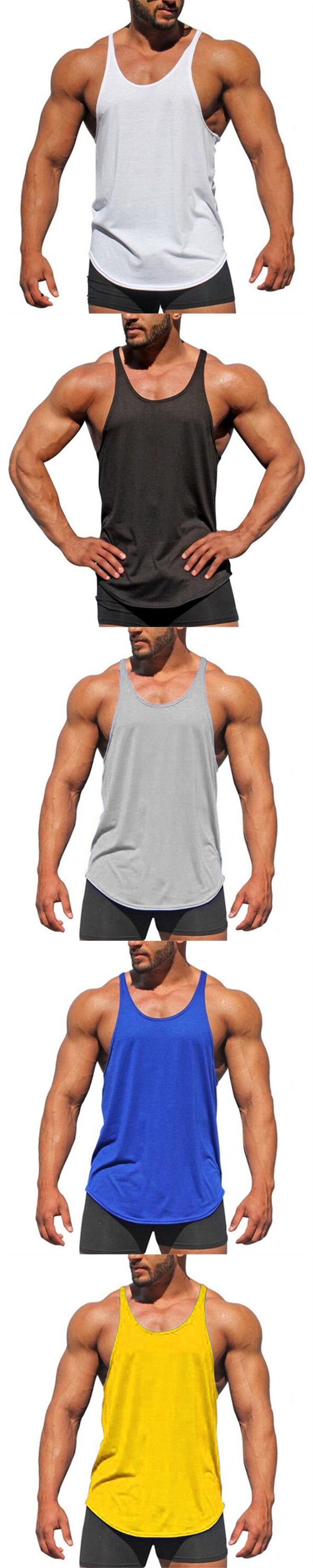 Bodybuilding Tank Top Men's Sleeveless Shirts Brand Clothing Fitness Men Singlet Blank Cotton Workout Stringer Gyms Vest