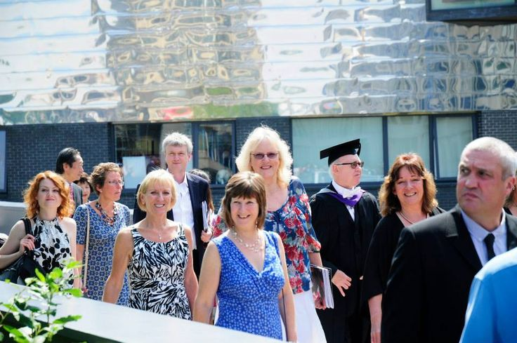 Our administrative staff coming out of the Ivor Crewe Lecture Theatre after watching our students graduate.