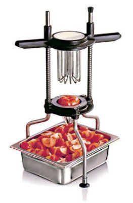 """World Cuisine 49838-08 Tomato Cutter, 8-Sections, Silicone, Stainless Steel, Each by World Cuisine. $418.50. World Cuisine 49838-08 Tomato Cutter, 8-Sections, Silicone, Stainless Steel. Tomato Cutter, 10-1/4"""" W x 15"""" L x 22-7/8"""" H, 8 section SILICONE, suction cups on feet, stainless steel"""