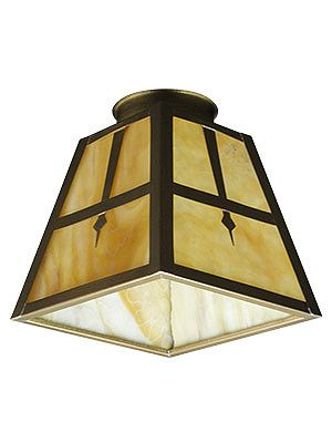 """Stained Glass Arts & Crafts Pyramid Shade with 2 1/4"""" Fitter 