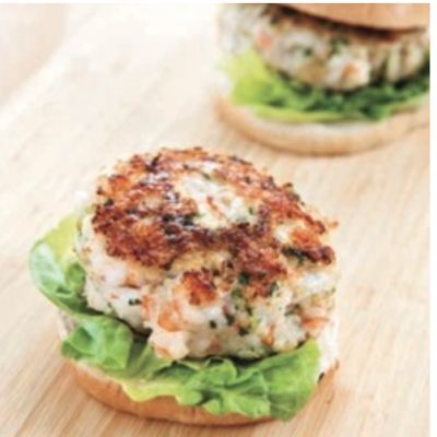 These Southern Shrimp Burgers would make the perfect slider at your next tailgate!
