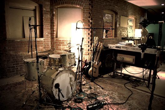 cool recording studio /rehearsal area in the basement of our detached garage....