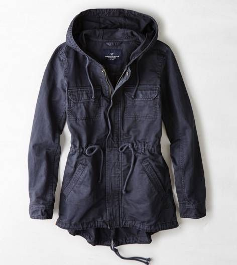Grey AEO Canvas Utility Jacket