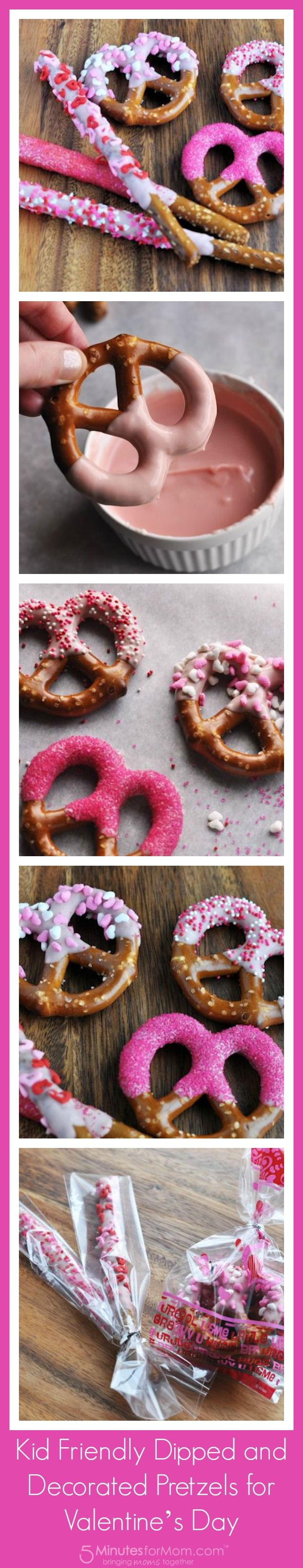 Kid Friendly Dipped and Decorated Pretzels for Valentine's Day - kid friendly... Maybe Jen friendly!