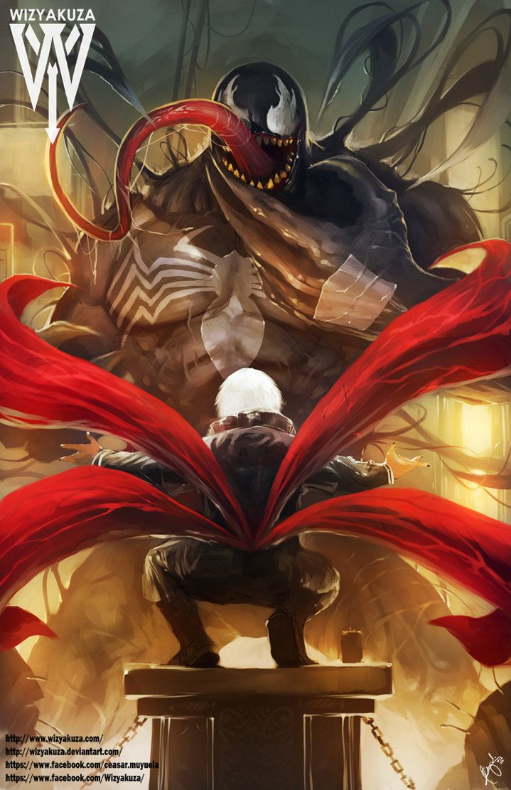 10 ilustrações de animes por WIZYAKUZA - Kaneki vs Venom