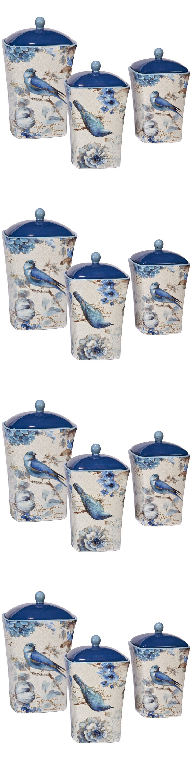 Tuscan old world drake design medium berry kitchen canisters set of 3 - Canisters And Jars 20654 Kitchen Canister Set 3 Piece Ceramic Sugar Coffee Storage Lids Bird