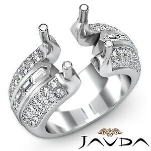 Pave Channel Set Diamond Engagement Ring 18k White Gold Round Semi Mount 1.15Ct