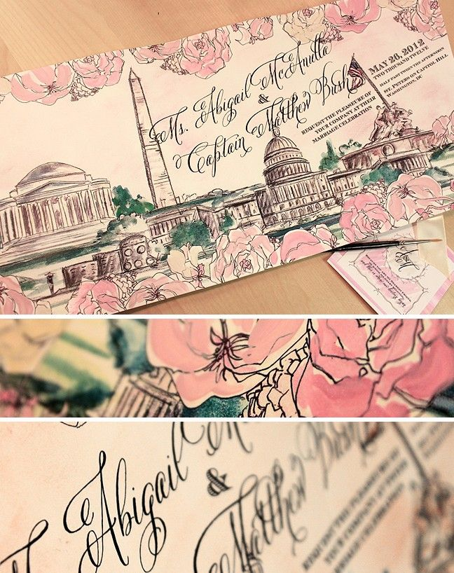 momental designs wedding invitation - washington dc - cherry blossom