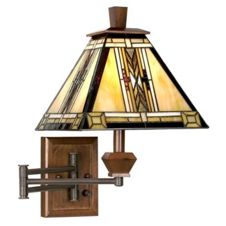 Walnut Mission Collection Plug In Swing Arm Wall Lamp