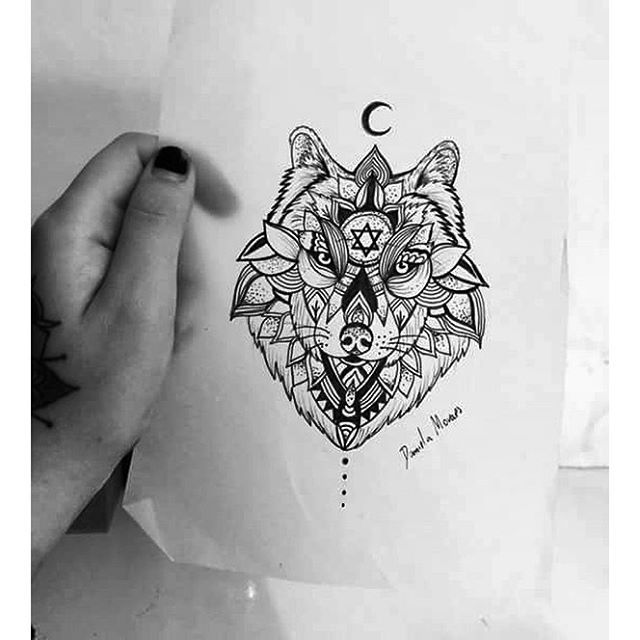 Mandala Wolf Tattoo Designs For Women I Like The