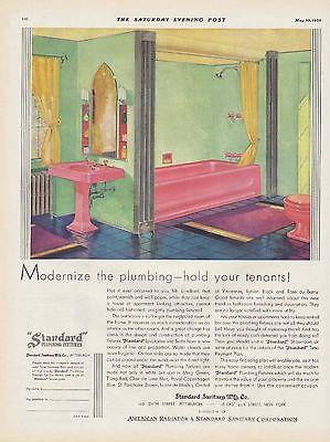 1930 Vintage Standard Sanitary Bathroom Bath Fixture Ad