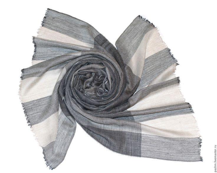 Купить Фешенебельный палантин в широкую полоску из кашемира - в полоску, палантин купить, мужской шарф