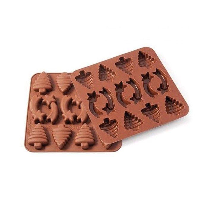 Moule en silicone Silikomart pour chocolats de Noël ou gateaux pour réaliser 8 sapins de noël et 4 étoiles filantes - Cuisine créative & DIY - Youdoit