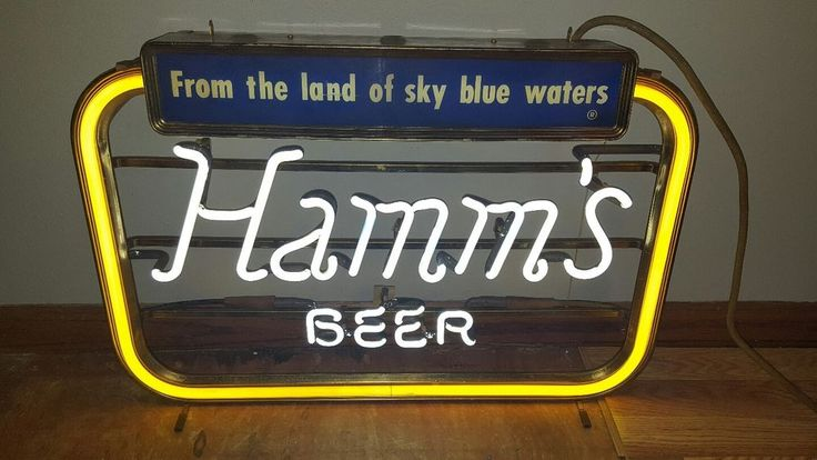 (VTG) 1950s HAMMS BEER NEON LIGHT UP SIGN SKY BLUE WATER GAME ROOM MAN CAVE RARE