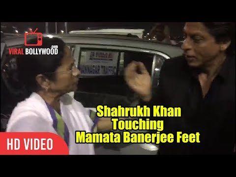 Shahrukh Khan Touching Mamata Banerjee Feet   SRK With Mamata Banerjee At Kolkata airport