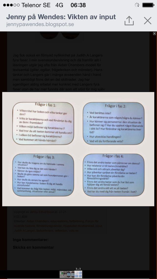 Langers 4 faser angående läsning och boksamtal.