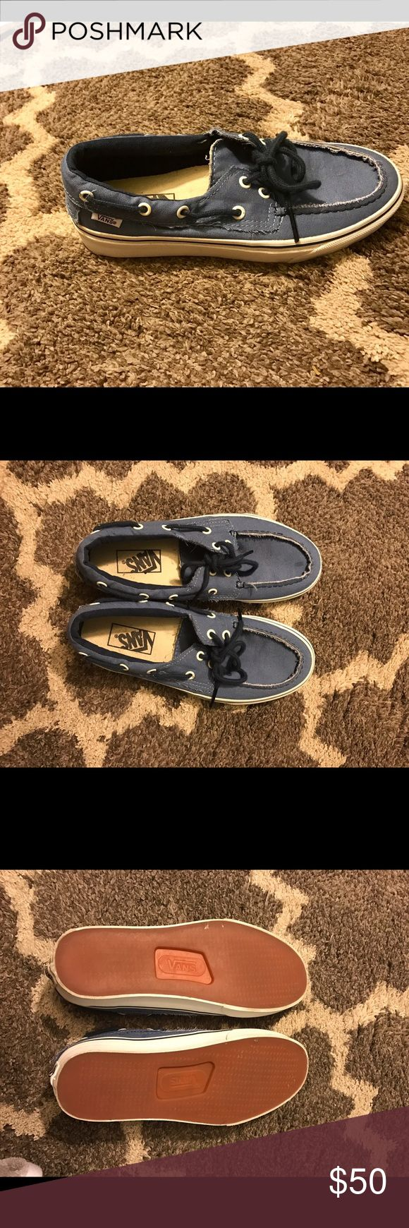 Vans boat shoe Vans navy blue boat shoe. Size: Men's US 7.5 Women's US 9. Description: Boat shoe. Great condition only worn once. Comfortable fit. Soles look new as does material. Vans Shoes Sneakers