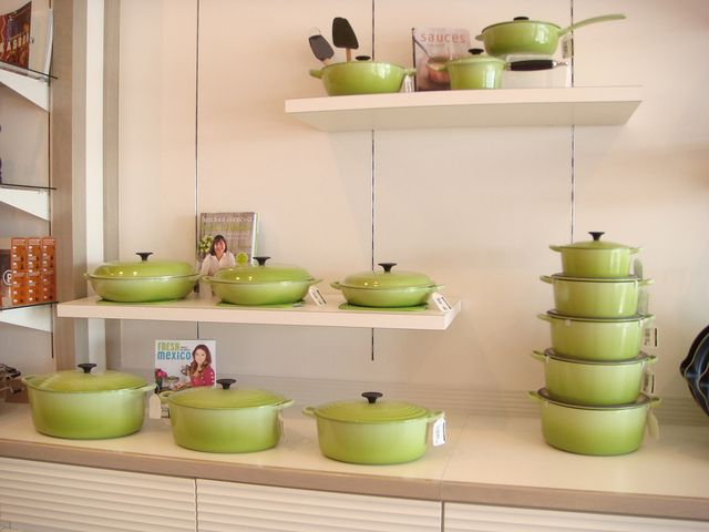 This is my favorite LC color, kiwi, same as William Sonoma's lemongrass. I future-proofed myself and built my collection in white & dune, but I have one in the kiwi since this is my favorite shade of green. I took this photo at the Le Creuset Outlet in Albertville, MN.