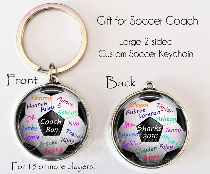 "Soccer Coach gift, PERSONALIZED SOCCER BALL key chain - 2 sided - gift for soccer coach from team ""signed"" by team players, Soccer Coach by NowThatsPersonal on Etsy"