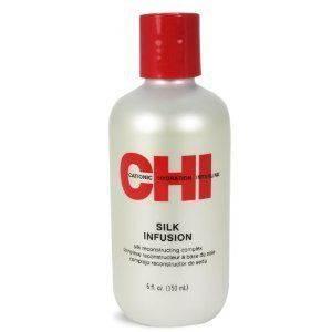 SILK INFUSION 6.0 oz By CHI HAIR PRODUCTS Silk Infusion.  If you flat iron your hair you should be using this... unless you prefer the tumbleweed look. A little bit will do you.  With my fine hair, about a nickels worth is all I need.