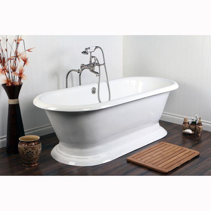 kingston brass doubleended cast iron 72inch pedestal bathtub pedestal bathtub white size over 71 inches