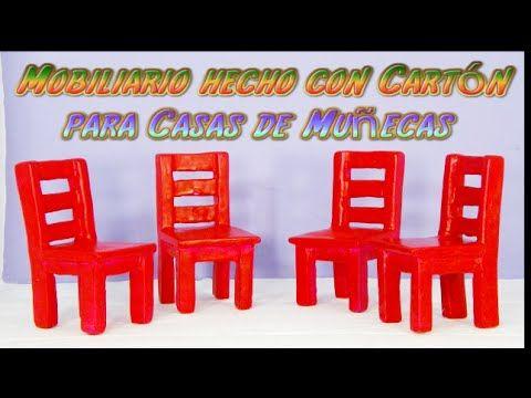 Cómo hacer muebles para casa de muñecas con cartón (sillas) | Manualidades