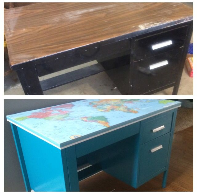 Salvage metal desk, rust oleum paint in lagoon and decoupage map to the top