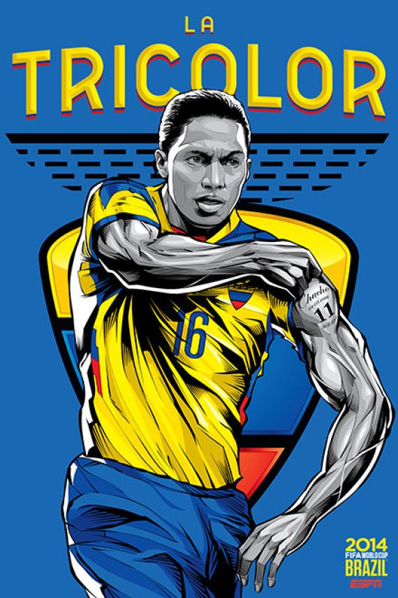 Ecuador, Afiches fútbol Copa Mundial Brasil 2014 / World Cup posters by Cristiano Siqueira