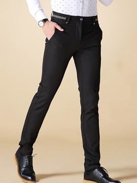 Ericdress Mid-Length Straight Slim Formal Men's Pants