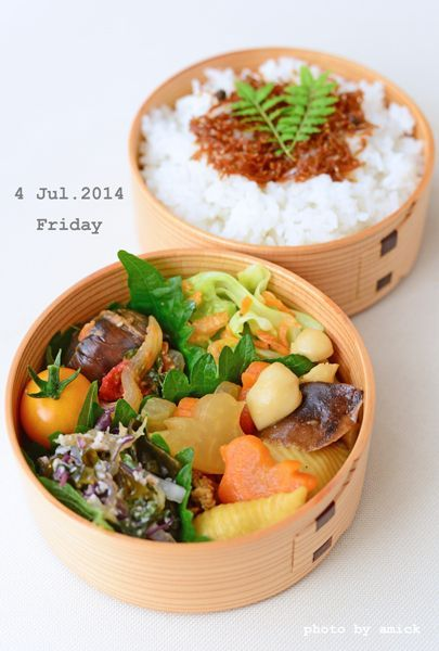 7月4日 金曜日 きのことコンキリエのスープカレー煮&茄子とトマトのバジル味噌炒め : おべんと綴り(おべんとつづり)