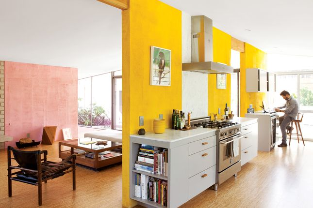 The kitchen of the Devis-Purdy house in Los Angeles features dual bursts