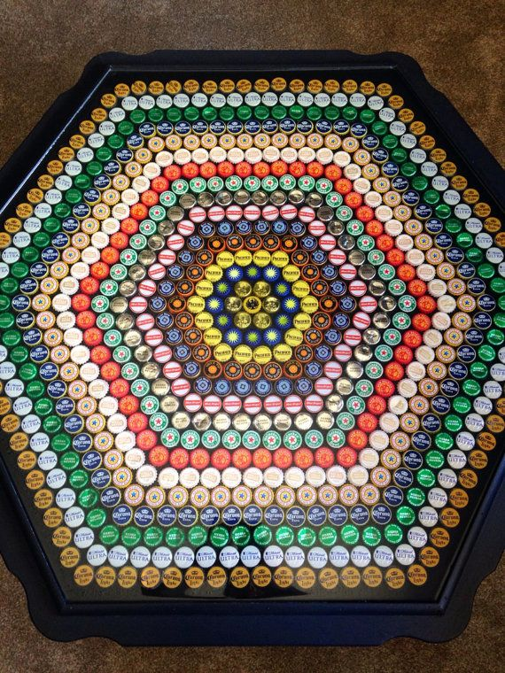 Large hexagon black bottle cap coffee table