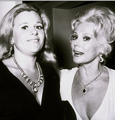 sad news January 2015 Francesca Hilton death at 67 of heart failure, possibly triggered by The Count's refusal to let her see ZsaZsa.  I hope Paris and Nicky give her a good sendoff and that nobody tells ZsaZsa she's gone before. Here in this happy times picture with Aunt Eva Gabor.