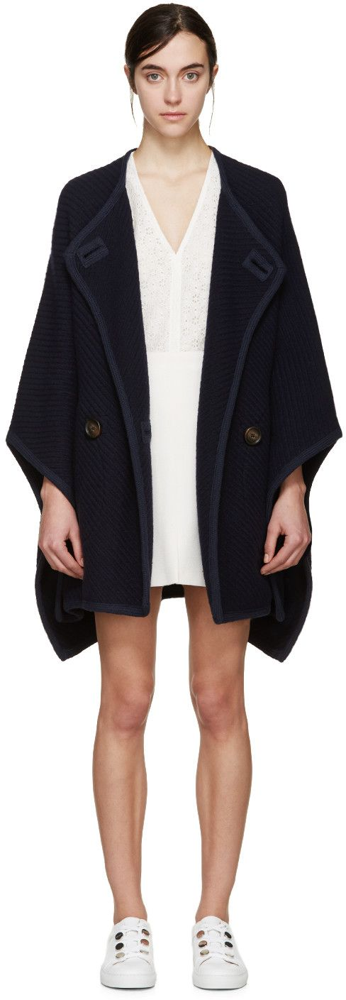See by Chloé | Navy Wool Cape Coat