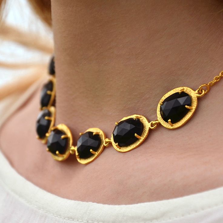 Cuff and Stone Gold Black Onyx Collar Necklace